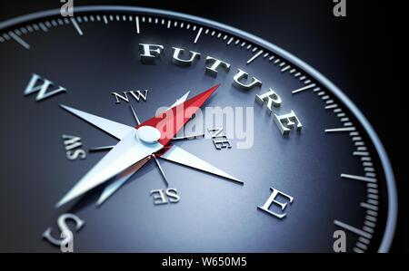 Dunkle Kompass mit roten Nadel in das Wort Zukunft zeigen - 3D-Darstellung - Stockfoto