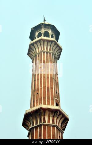 Minarett, Jama Masjid Moschee, Delhi, Indien, Asien - Stockfoto
