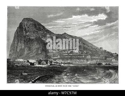 Der Felsen von Gibraltar, 1879. Artist: T Taylor - Stockfoto