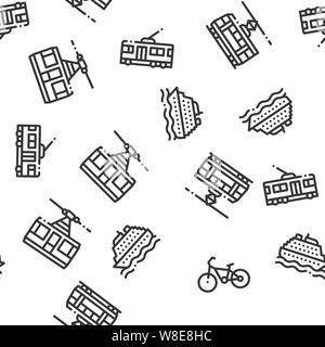 Öffentliche Verkehrsmittel nahtlose Muster Vektor - Stockfoto