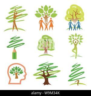Menschen und Bäume Symbole. Set aus bunten Symbole. Vektor zur Verfügung. - Stockfoto