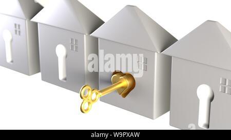 3D-rendering Schlüssel zum Glück Happy Home Schlüssel zum ersten perfekte Passform Home Liebe Zuneigung glücklich Wohnungsmarkt Golden Key Gelegenheit Konzept - Stockfoto