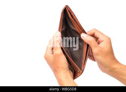 Hand öffnen Sie eine leere Brieftasche auf weißem Hintergrund - Stockfoto
