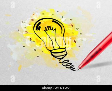 Zeichnung bunten Lampe und Multimedia Symbole auf weißem Papier - Stockfoto