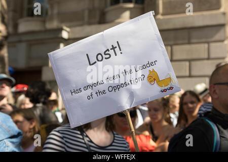 Westminster, London, Großbritannien. 31 Aug, 2019. Protest in Whitehall Brexit zu stoppen. Der Premierminister hat die Vertagung des Parlaments bedroht, so dass er seine Brexit agenda liefern kann. Viele sehen dies als Untergrabung der Demokratie. Penelope Barritt/Alamy leben Nachrichten - Stockfoto