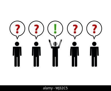 Teamarbeit Business Konzept mit Fragen und Antwort Piktogramm Vector Illustration - Stockfoto