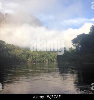 Niedrige Bewölkung am Ufer eines tropischen Fluss im Dschungel. - Stockfoto