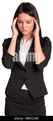 Schöne Geschäftsfrauen in der Klage umgekippt, halten sich an den Händen an den Schläfen. Auf weissem Hintergrund - Stockfoto