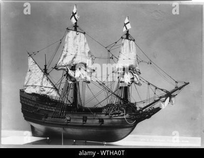 Modell des Schiffes, Mayflower [at] Pilgrim Hall - Stockfoto