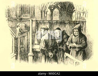 """""""Sie stehen blieb, verwurzelt in der Spot"""", (1907). Der junge Mozart schleicht in die orgelempore im Kloster von Ips: '... die Franziskanische Mönche ... wurden bei der Anhörung die Orgel weiter Läuten von der Kapelle aufgeschreckt. Einer der Hosts links die Tabelle, die der Spieler sein könnte, und... winkte das Unternehmen festzustellen, ihm zu folgen. Bei Erreichen der Kapelle sie angehalten zu hören, halten den Atem an, als ihr Begleiter auf die winzige Figur eines Kindes in der Loft sitzt hingewiesen. War es möglich, fragten sie sich, dass ein Kind so schöne Musik produzieren könnte? Sie blieb stehen, verwurzelt in der - Stockfoto"""