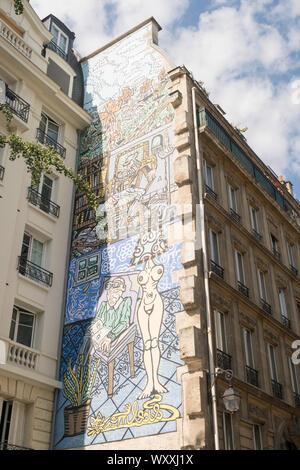 Paris, Frankreich - 31 August, 2019: Großes Wandbild über sieben Geschichten von Höhe in, Paris, Frankreich - Stockfoto