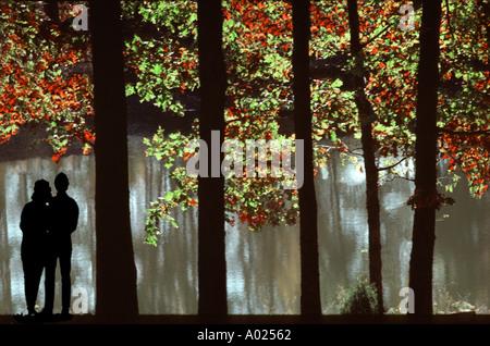 Junges Paar stehen zusammen unter Eiche und Hickory Bäume mit Blick auf den See am späten Nachmittag im frühen Herbst, - Stockfoto