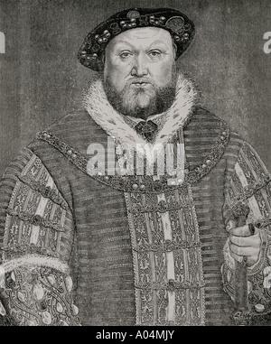 Heinrich VIII., 1491 - 1547. König von England. Nach einer Arbeit von Hans Holbein dem Jüngeren. Stockfoto