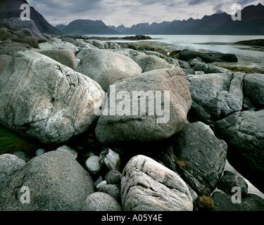 NO - LOFOTEN-Inseln: Henningsvaerstraumen - Stockfoto