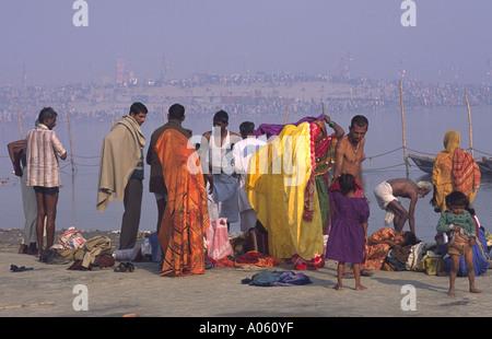 Pilger von den Ganges. Khumb Mela Festival 2001-Allahabad, Uttar Pradesh, Indien. - Stockfoto