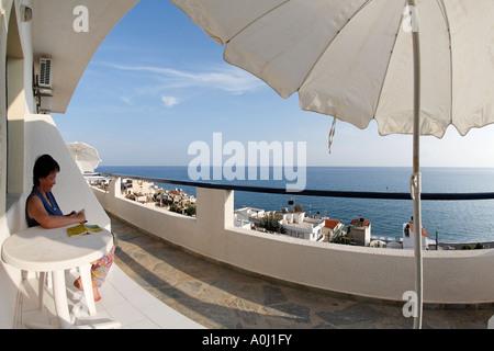 Blick vom Apartment Big Blue, Mirtos, Süd-Kreta, Griechenland - Stockfoto