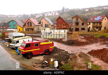 Selbst bauen Öko Häuser im Bau am Ashley Vale-Standort in Bristol England UK - Stockfoto