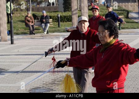 Senioren stürzen mit ihren Schwertern in einem Park entlang Yinshui Qu, Hucheng River (Stadtgraben), Beijing, China - Stockfoto