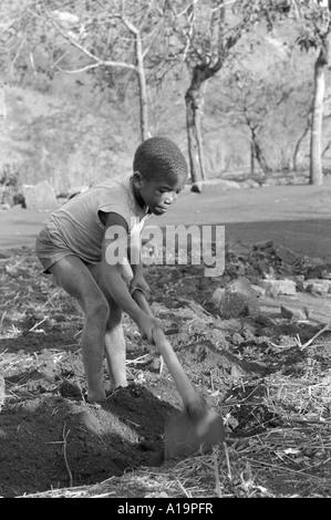 B/W eines jungen Jungen, der auf der Subsistenzfarm seines Elternteils gräbt. Er geht nicht zur Schule und arbeitet - Stockfoto