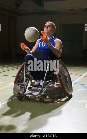 Quad Rugby-Spieler in einem Rollstuhl - Stockfoto