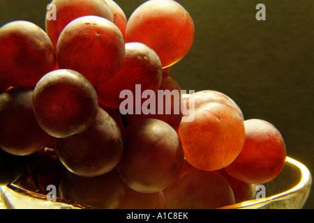Stillleben mit roten Trauben in eine Glasschale - Stockfoto