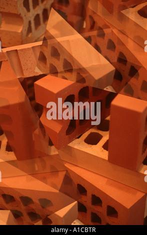 viele Ziegel Hintergrund Build Konstrukt Symbol abstrakt - Stockfoto