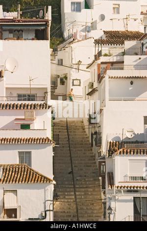 Mijas Costa del Sol Spanien Blick über Stadt, Häuser - Stockfoto