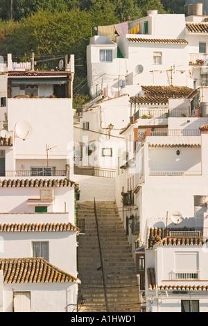 Mijas Costa del Sol Malaga Provinz Spanien Blick über Stadt, Häuser - Stockfoto