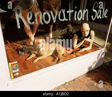 Schaufenster mit Hund posiert neben Manequins mit dem Worte Renovierung Verkauf lackiert in weiß auf dem Glas Fensterbereich - Stockfoto