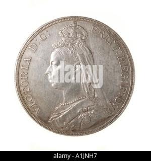 Königin Victoria Pre Dezimal 5 fünf Schilling 60 sechzig alte Pence Krone Silber hell 1889-Kopf, die linke Schulter - Stockfoto