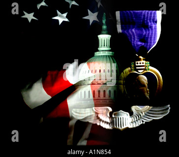 Soft-Fokus Digital Merg Washington DC Capitol Purple Heart amerikanische Flagge patriotischen Symobols - Stockfoto