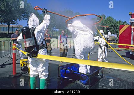 HazMat Dekontamination Linie bioterroristischer Angriff Antwort Teamtraining Las Vegas Nevada - Stockfoto