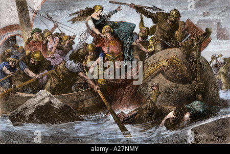 Viking Raid auf der englischen Kanalküste unter Olaf Tryggvason 900 s AD. Hand - farbige Holzschnitt Stockfoto