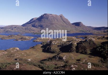 Cul Mor und Loch Sionascaig im Herzen von Inverpolly, nationale Natur-Reserve, Schottisches Hochland.  GPL 4337 - Stockfoto