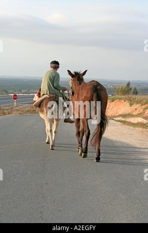 Spanische Bauern auf seinem Esel gehen führende Pferd Andalusien Spanien arbeiten - Stockfoto