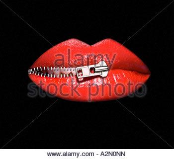 Grafische Symbolik Bild eines Weibes Lippen wird mit Reißverschluss geschlossen. - Stockfoto