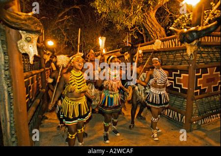 Zulu Frau tanzt im Kostüm von Zulu Maid Outfit gemacht von Perlen Kostüm getragen während tanzen Zeremonien Südafrika - Stockfoto
