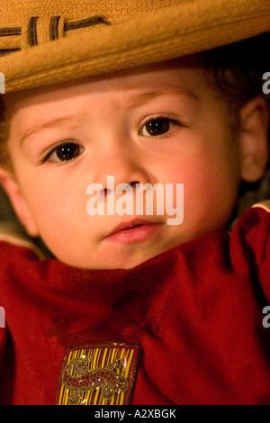 Porträt des jungen Alter 1 tragen Stroh Hut. Plainfield, Illinois USA - Stockfoto