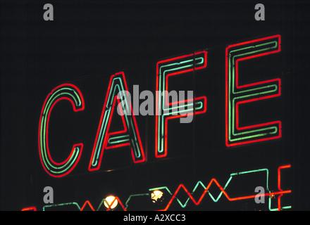 Leuchtreklame Café Restaurant Fenster - Stockfoto