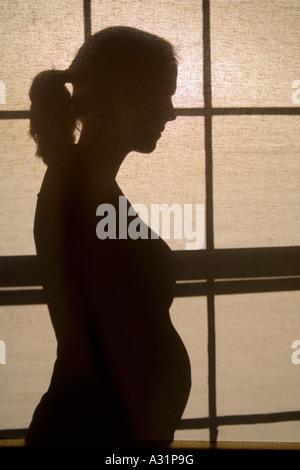 Silhouette der schwangeren Frau - Stockfoto