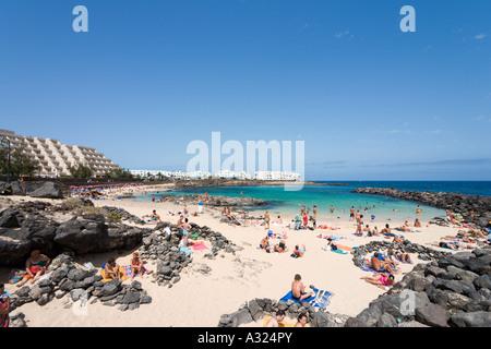 Strand von Playa del Jablillo, Costa Teguise, Lanzarote, Kanarische Inseln, Spanien - Stockfoto