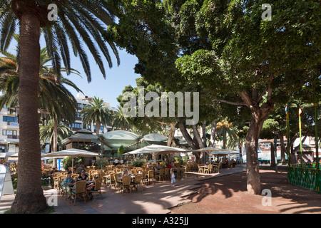 Straßencafé (Cafe Dinamico) in der Plaza del Charco (Hauptplatz), Puerto De La Cruz, Teneriffa, Kanarische Inseln, - Stockfoto