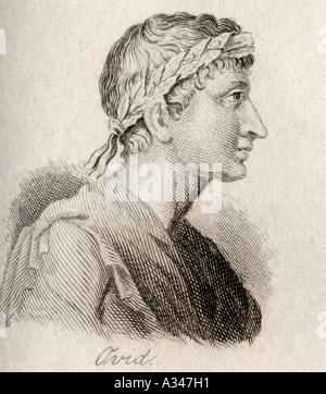 Ovid Publius Ovidius Naso, 43 v. Chr. - 17 n. Römischer Dichter. Durch J W Koch eingraviert - Stockfoto