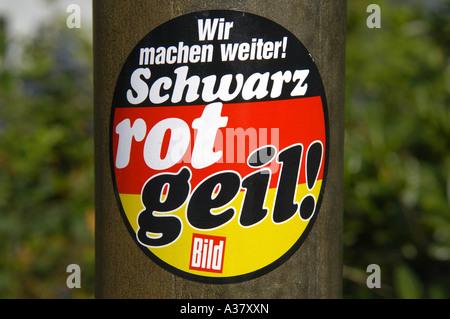 Schwarz Rot Geil schwarz rot gelber Aufkleber deutsche Flagge Deutschland Deutsch Deutschland Redaktion - Stockfoto