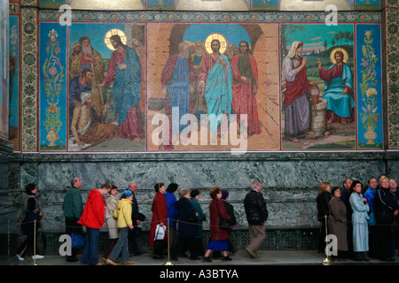 Fresken in der Auferstehung Kirche (unser Erlöser auf die Auferstehungskirche), Sankt Petersburg, Russland - Stockfoto