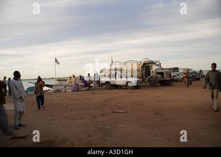 Korioume der Hafen von Timbuktu und dem Niger in der Morgendämmerung, Mali, Westafrika - Stockfoto