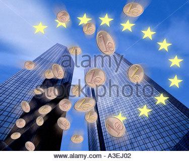 EUROPA: Finanzkonzept mit der Deutschen Bank in Frankfurt am Main - Stockfoto