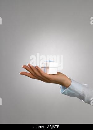 Frau hält ein Geschenk - Stockfoto
