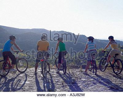 Fünf Radsportler - Stockfoto