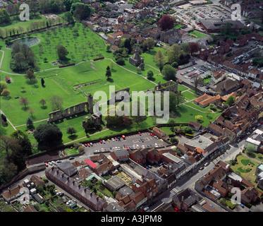 Glastonbury Abbey Ruinen Somerset UK Luftbild - Stockfoto